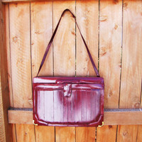 vintage oxblood deep red eelskin briefcase. red eelskin messenger. eelskin attache. red leather book bag