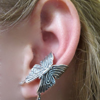 Silver Butterfly Ear Cuff by martymagic on Etsy
