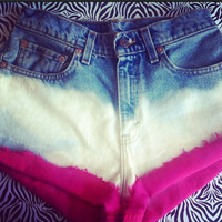 Colored cuff ombré Levi shorts  by AngeliqueMerici on Etsy