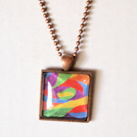 Square Charm Necklace - abstract hipster jewelry resin glass dome original artwork painting bold colors