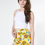 Sunflower Print Stretch Bull Denim High-Waist Cuff Short | Denim | Women&#x27;s Shorts | American Apparel