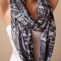 Valentine's Day - Gray Geometrc Patterned Infinity Scarf - Jersey Fabric