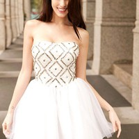 &quot;Center of Attention&quot; princess style all white formal dress