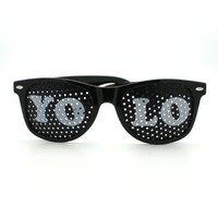 Amazon.com: YOLO Mesh Lens Wayfarer Novelty Sunglasses- White: Clothing