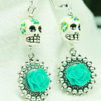 Sugar Skull and Bloom Earrings in Aqua and White | artistamuerta - Jewelry on ArtFire