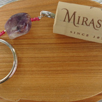 Wine Cork Key Chain with Purple Stone & Pink Beads
