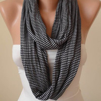 Trendy - Black Striped Infinty Scarf  - Circle -  Loop Scarf - Combed Cotton Fabric