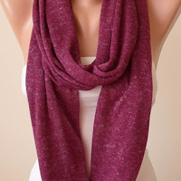 Plum Purple Infinity Scarf - Jersey Fabric