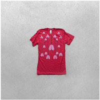 SALE - Mens tshirt - bright red and white M, L or XL - gift for him - chevron arrows print on American Apparel - The HEADHUNTER