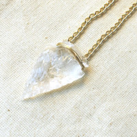 Quartz Crystal arrowhead necklace - Handmade