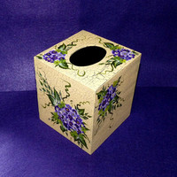 Elegant Tissue Box Cover Decorative Wood Tissue Holder Boutique Hand Painted Hydrangeas Custom Painting Victorian Distressed Purple Crackle