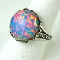 Fire Opal Ring Adjustable Band Pink Iridescent Cocktail Ring