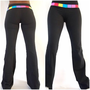Lululemon Pants Black /multicolor Waist Band Yoga /fitness Pants Reversible 4