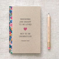 Mini Sketchbook & Pencil Set - Designers - Oscar Quote - Stocking Stuffer, Eco Friendly Journal