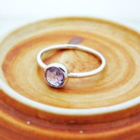 Amethyst sterling silver band stacking ring | allbubu - Jewelry on ArtFire