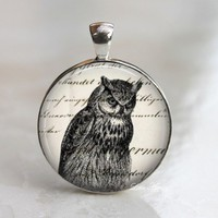 Woodland owl animal glass dome necklace keychain
