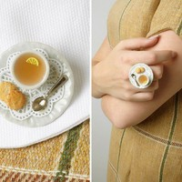 Tea Cup Statement Ring With Shabby Lace Doily and by LeChouChou