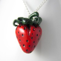 Yummy Strawberry Necklace, Necklace, Jewelry, Handmade