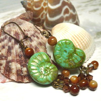 Green Turquoise Ammonite and Bronze Mother of Pearl Dangle Earrings