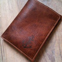 MAYA LUNE Leather Handprinted Anchor Billfold Wallet