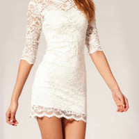 Perfect Slim Hollow out With Lace Dress