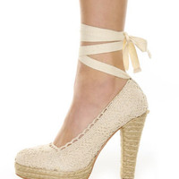 GoMax Fresh 01 Natural Crocheted Espadrille Heels