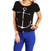 Black Boxy Anchor Print Short Sleeve Top