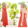 Solid Color Wrapped Chest Donna High-Rise Maxi Dresses Asian Spring Summer