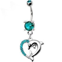 Blue Zircon Cubic Zirconia Heart Dolphin Dangle Belly button Navel Ring 14 gauge:Amazon:Jewelry