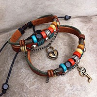 Handmade Couple Leather Bracelets- Key To My Heart