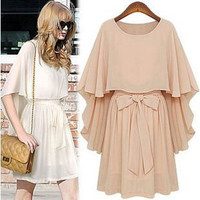 NICE FAKE TWO SHAWLS CLOAK BOWKNOT DRESS