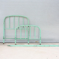 Vintage Twin Bed Frame // Metal Bed Frame //  by BankandPearl