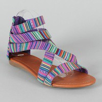 Jeffery-19 Tribal Print Open Toe Flat Sandal