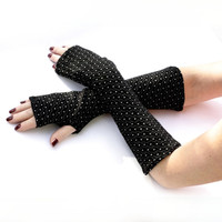 SALE Soft Black  with White Dots  Fingerless Gloves   by WearMeUp