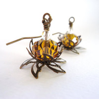 Amber Yellow Crystal Leafy Water Lily Earrings