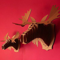 FRED MOOSE - ANIMAL FRIENDLY CARDBOARD MOOSE BUST