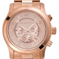Michael Kors 'Large Runway' Rose Gold Watch, 45mm
