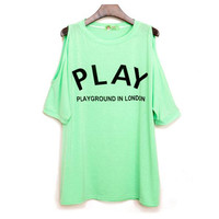 Mint Green Play Loose Strapless T-shirt