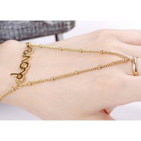"Women's BOHO Elegant Gold ""LOVE"" Chain Bracelet with Ring Free Shipping"