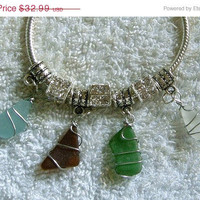 SALE Sea glass charm bracelet. Sea glass jewelry.