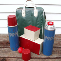 Picnic Set - Thermos Collection - Coffee Thermos - Mint Green Tote Bag - Plastic Food Container - Red / Blue / Beige