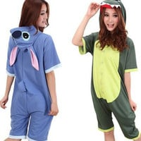 Cute Dinosaur or Stitch Unisex One Piece Jumpsuit Sleepwear
