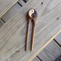 Wood Hair Fork I Ching Yin Yang Satinwood Black Walnut and Maple 5 inch total Free US Ship