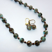 Green, Brown and White Marbled Beaded Necklace Earring Set