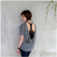 Womens t shirt - S/M/L - birdcage print on open back pony tees - gift for her - One That Got Away - black and heather gray