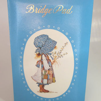 Holly Hobbie Bridge Score Pad with original Box, Blue, Carlton Cards, Vintage collectible