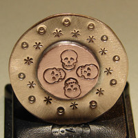 Bad to the bone golf marker in bronze and copper