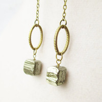Boho Raw Pyrite Cubes & Bronze Chain by ViperCoraraDesigns on Etsy