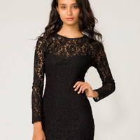 Motel Elsa Rose Lace Bodycon Dress in Black - Motel Rocks