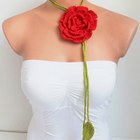 Handmade Green Crochet leaf and Big Red Rose Flower Lariat, Scarf